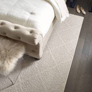 Greystone urban glamour bedroom wood flooring | Barrett Floors